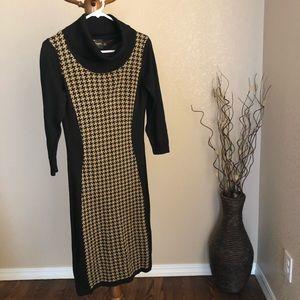 Brown Checkered Turtleneck Sweater Dress